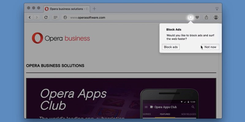 Opera with built in ad-block feature